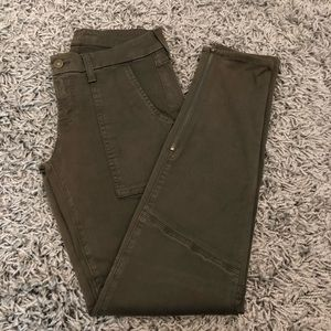 7 For All Mankind Olive Skinny Jeans With Zipper